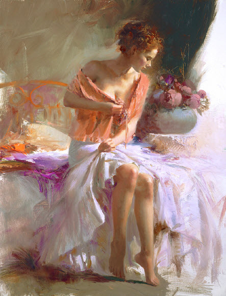 Pino Daeni romantic soft woman Spring Flower