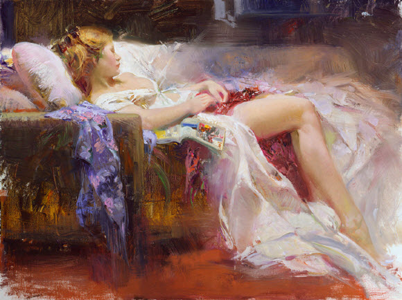 Pino Daeni romantic soft woman Sweet Repose