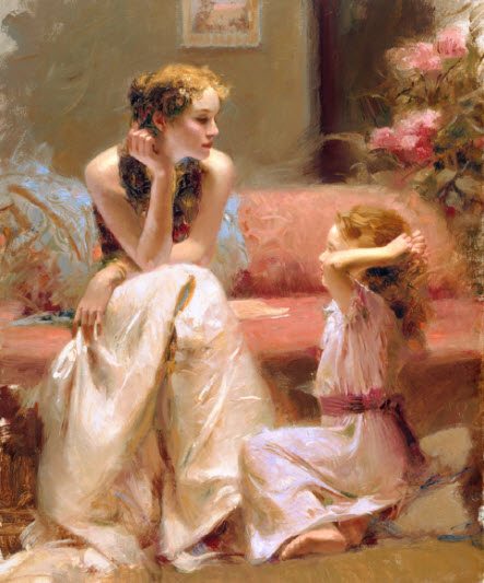 Pino Daeni romantic soft woman Thinking of you