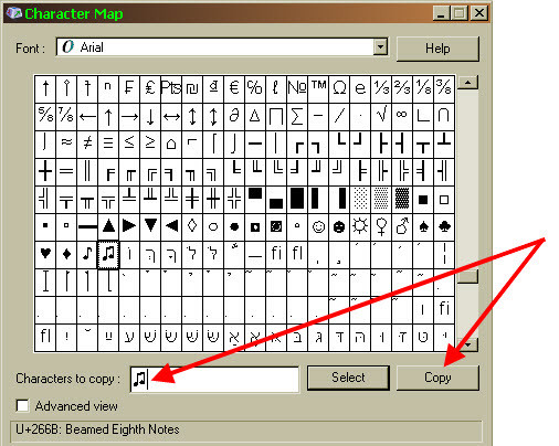 character symbol map click copy button