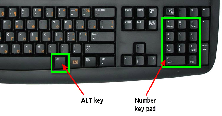 computer desktop keyboard alt number pad