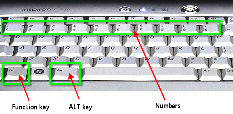 computer laptop keyboard function alt numbers