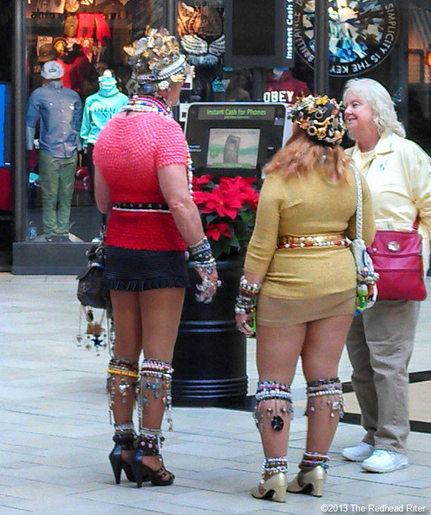 oddly dressed people in mall