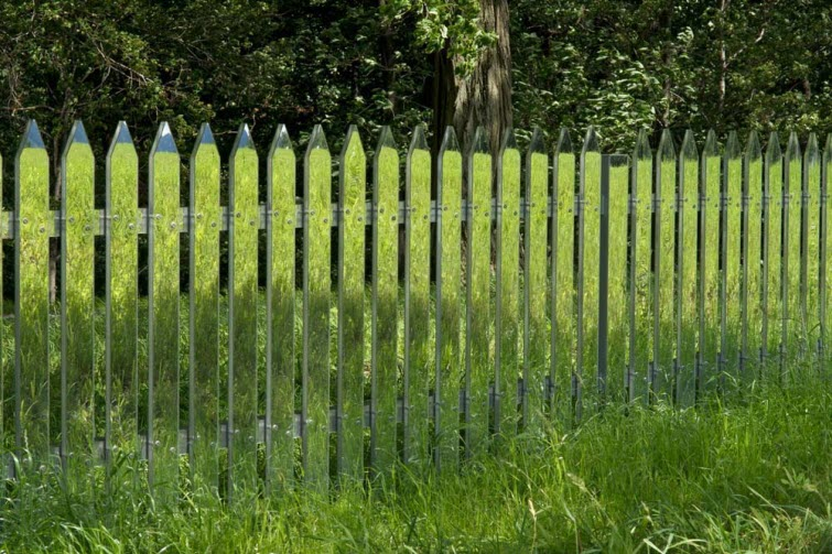 Alyson Shotz mirror fence green grass