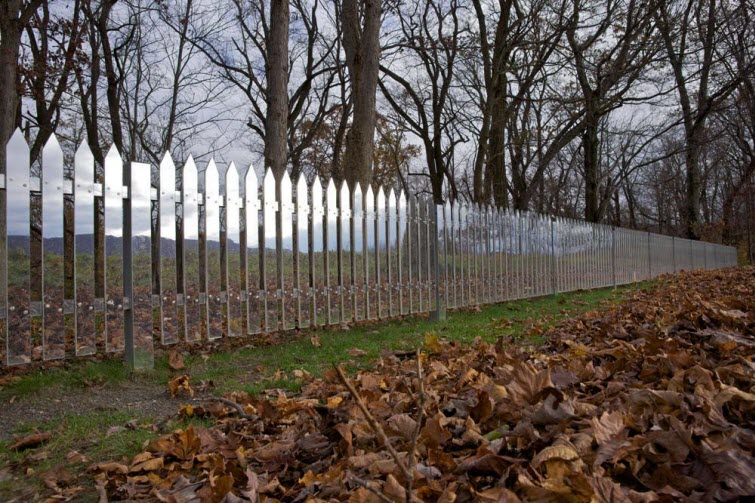 Alyson Shotz mirror fence leaves