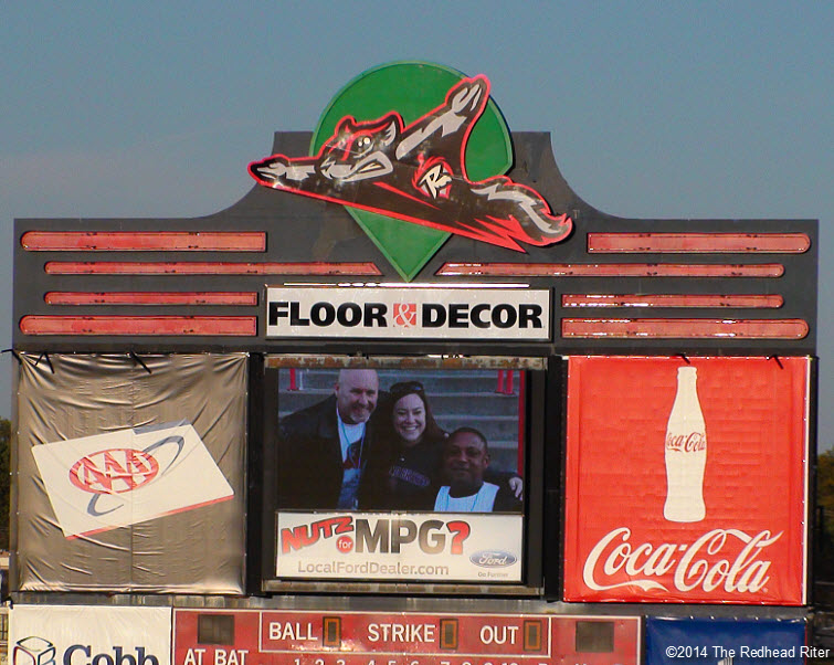 2  flying squirrels opening night scoreboard logo