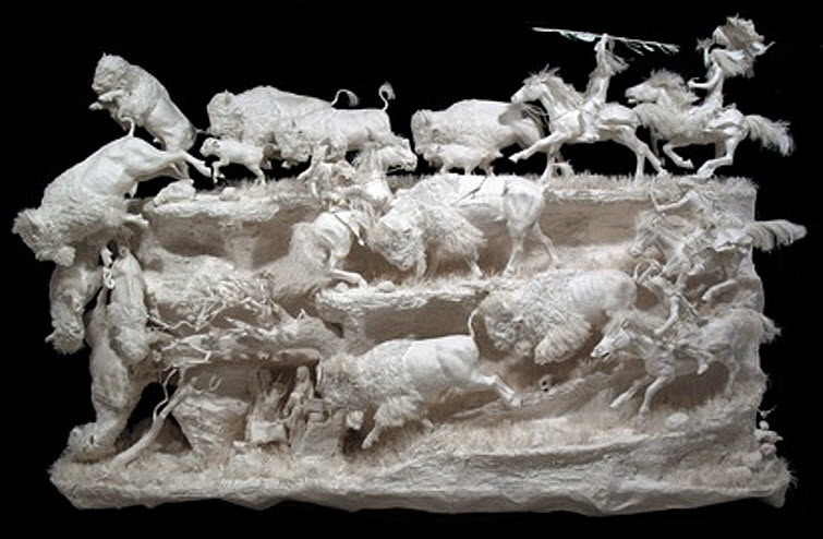 Paper Artists Eckman Cool Cast Paper Art Sculptures Prairie Edge Hunt 55,000