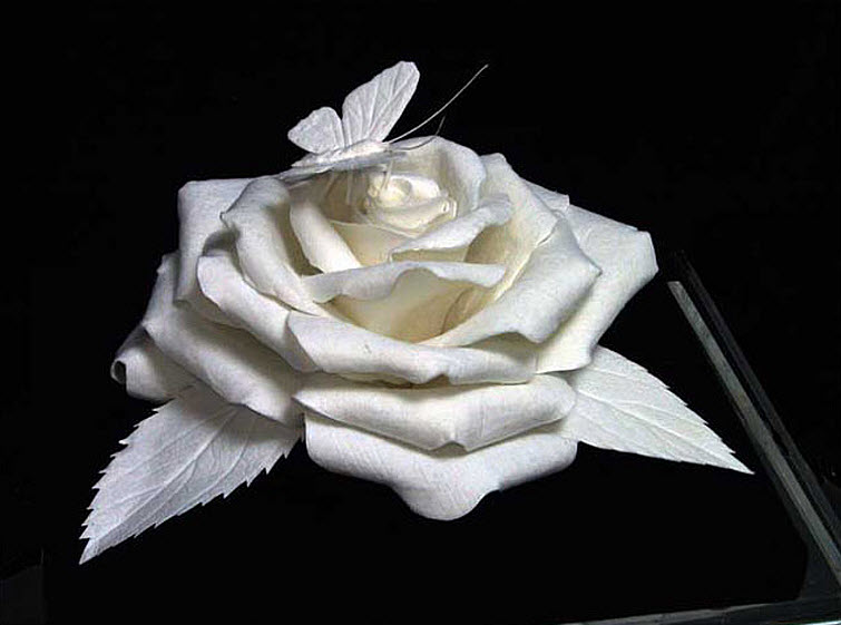 Paper Artists Eckman Cool Cast Paper Art Sculptures rose-and-butterfly