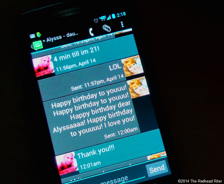 the redhead riter  and alyssa's birthday text