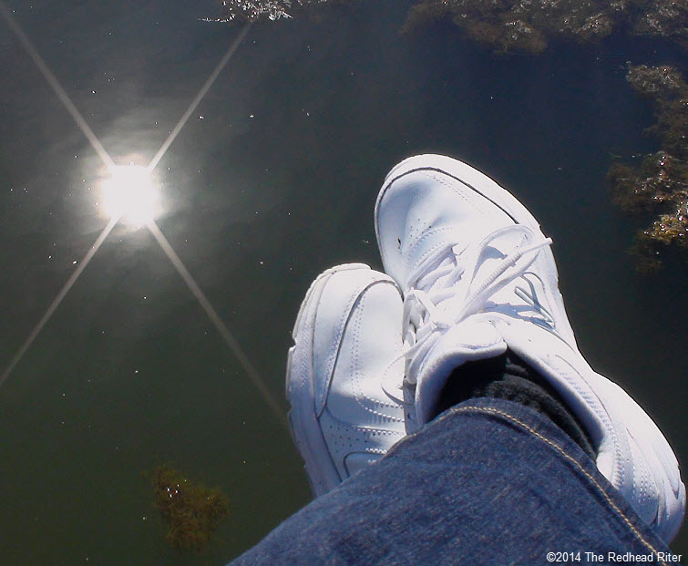 white sneakers sun reflection murky water