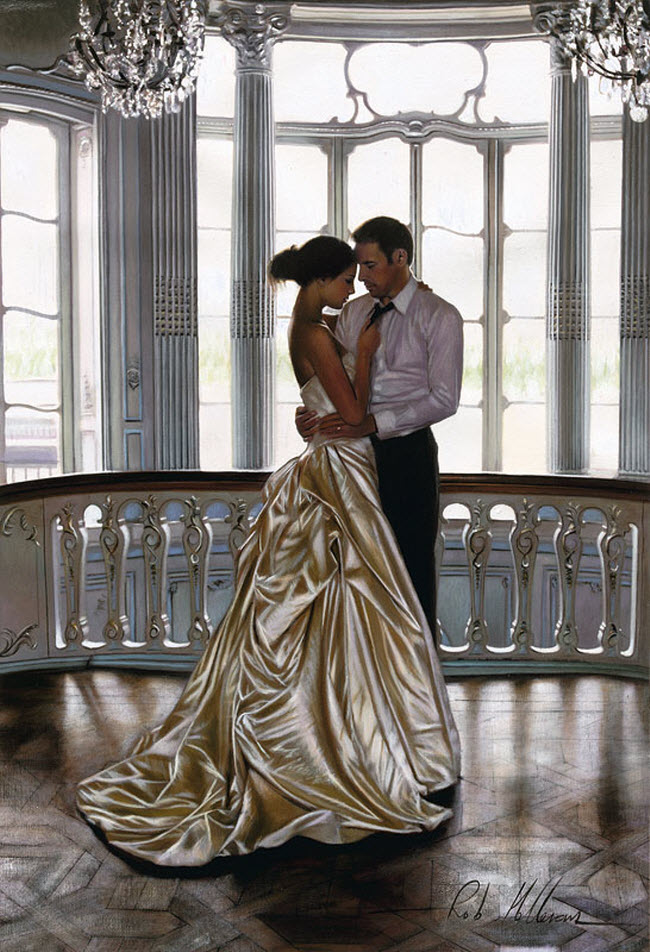 Artist Ron Hefferans Photorealistic Glamorous Oil Paintings wedding couple