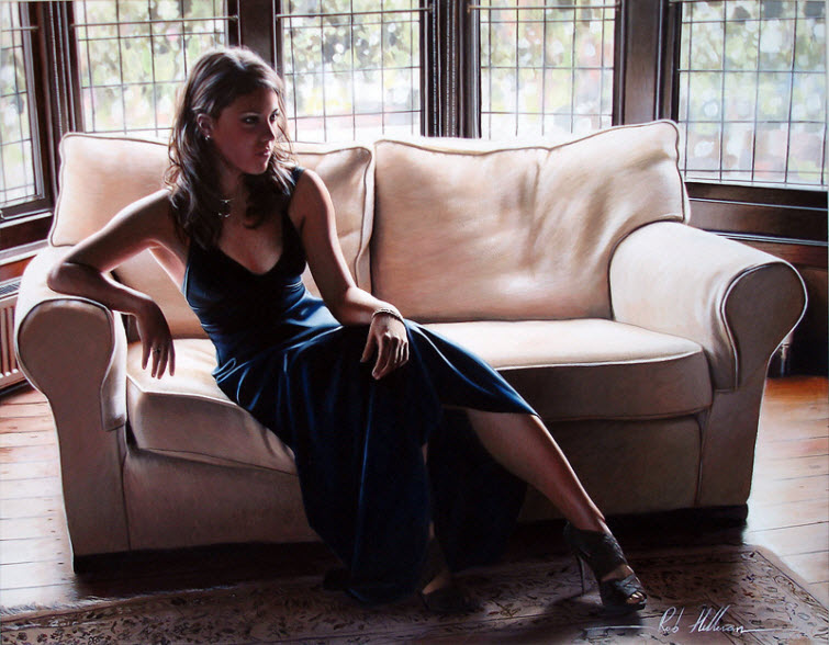 Artist Ron Hefferans Photorealistic Glamorous Oil Paintings woman couch