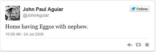johnaguiar first tweet