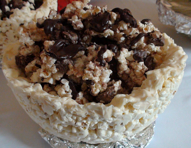Edible Chocolate Covered Popcorn Bowl With Chocolate Candy Covered Popcorn Filling15