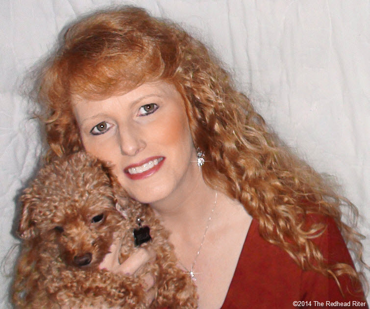 redhead sherry riter with bella red toy poodle
