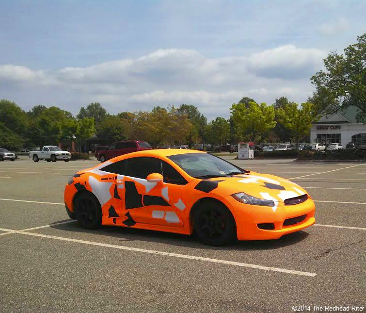 orange abstract decorated parked car