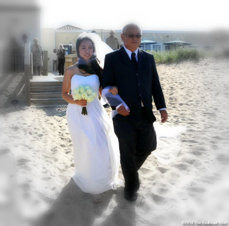 3 bride and father Outer Banks Beach Wedding