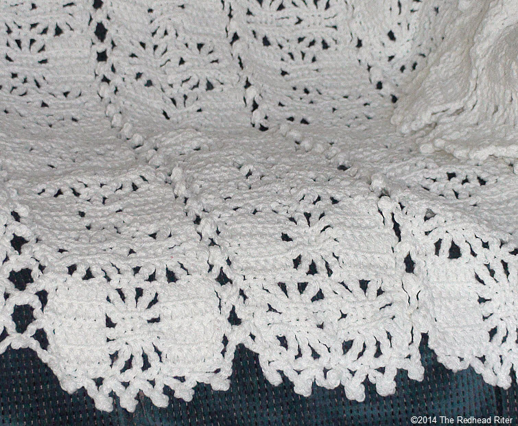 crocheted afghan cream lace appearance edge
