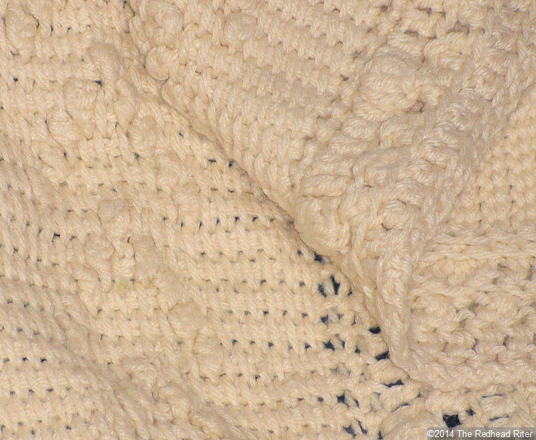 crocheted afghan cream popcorn stitch closeup