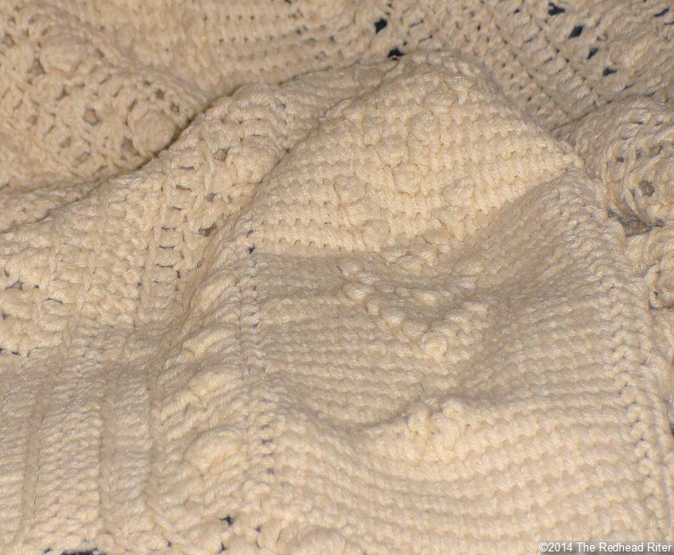 crocheted afghan cream popcorn stitch