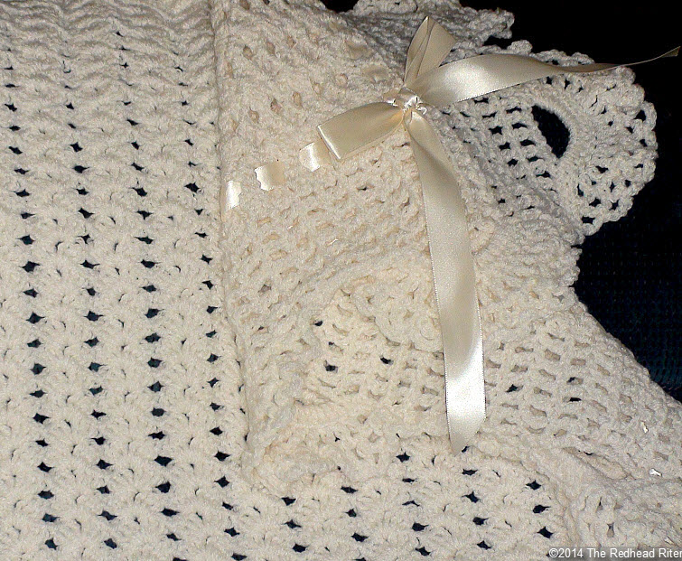 crocheted afghan ribbon edge cream