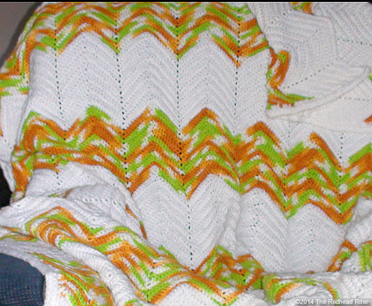 crocheted afghan ripple green brown