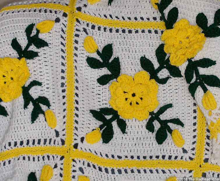 crocheted afghan yellow flowers squares bright