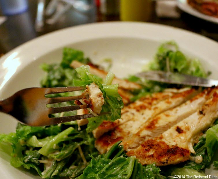 grilled chicken on caesar salad Weeping Radish Outer Banks