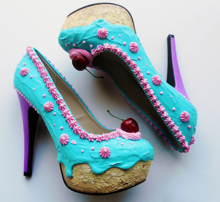 Teal Pink Cake heels Wear Shoes Shoe Bakery Sweet Treats