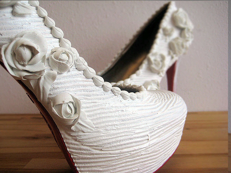 White Rose Wedding Heels Wear Shoes Shoe Bakery Sweet Treats