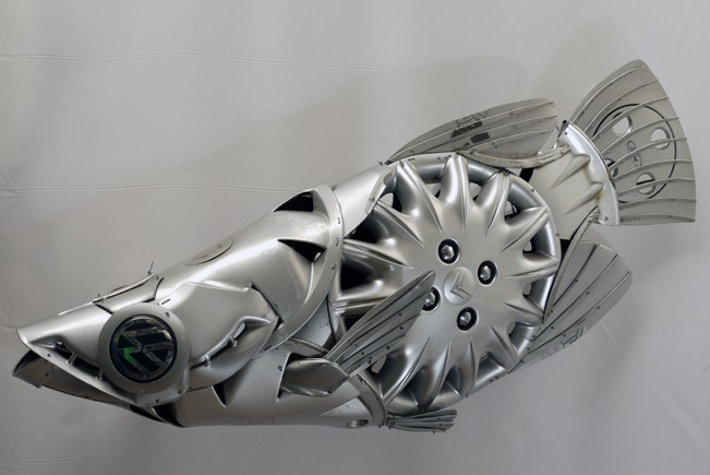 archerfish Car Part Art - Old Recycled Hubcaps Into Awesome Sculptures