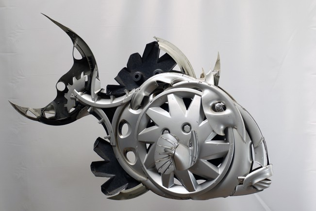 big-triggerfish Car Part Art - Old Recycled Hubcaps Into Awesome Sculptures