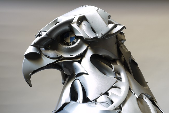 eagle bmw eye Car Part Art - Old Recycled Hubcaps Into Awesome Sculptures