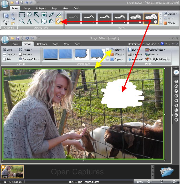 Snagit draw-erase image-border