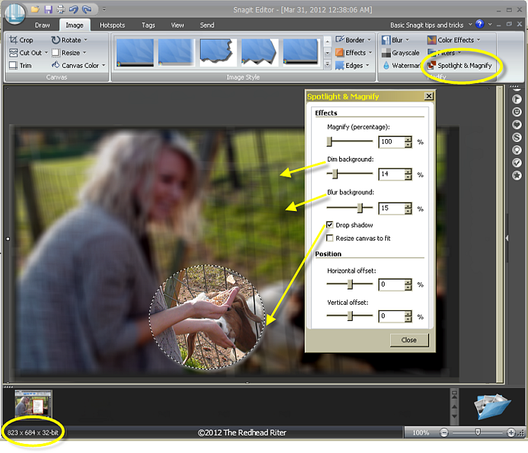 Snagit image-spotlight and magnify