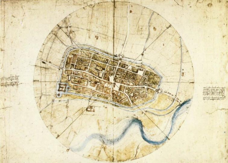Town plan of Imola da Vinci