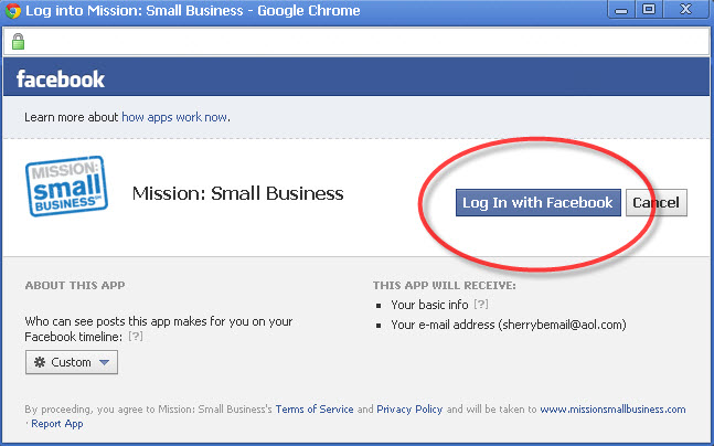 mission small business facebook application