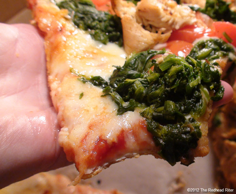 lots of cheese chicken spinach pizza