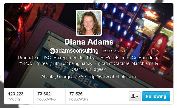 Diana Adams @adamsconsulting Twitter header
