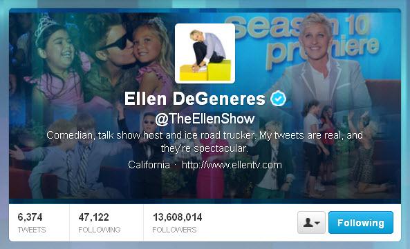 Ellen DeGeneres @TheEllenShow Twitter header