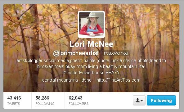 Lori McNee @lorimcneeartist Twitter header
