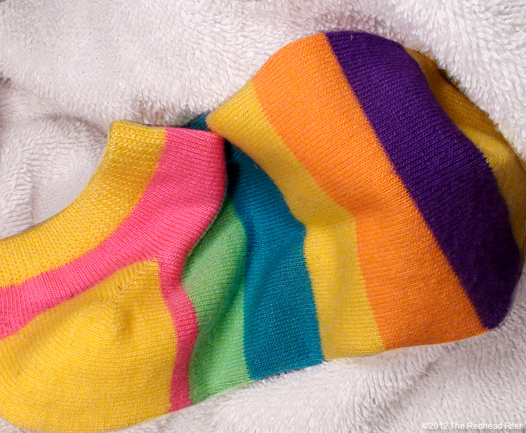 colorful striped short footie sock
