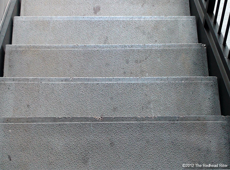 long dirty concrete stairs steps