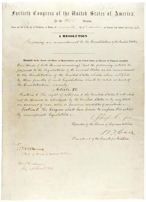 15th Amendment Of the Constitution of the United States of America