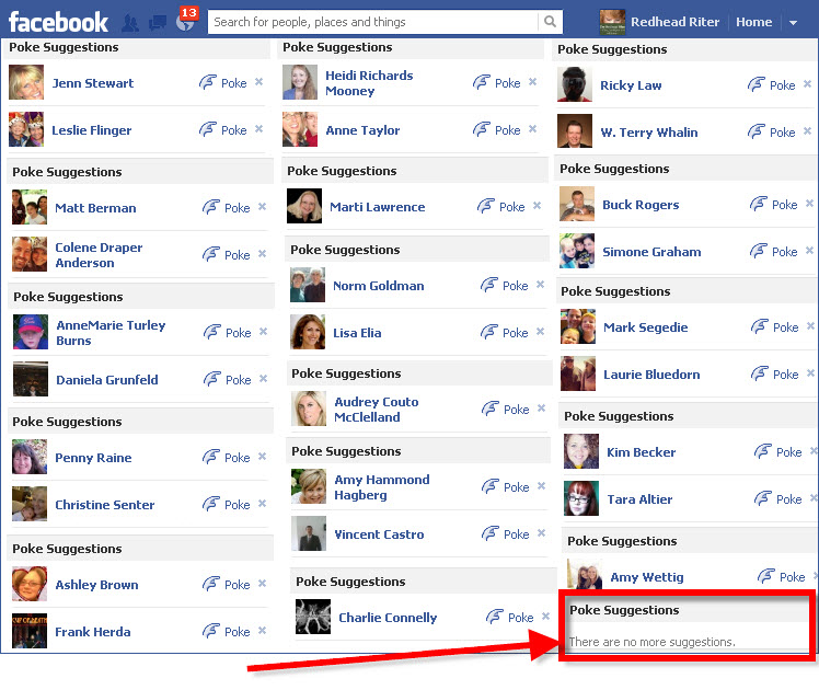 Facebook poke no more suggestions