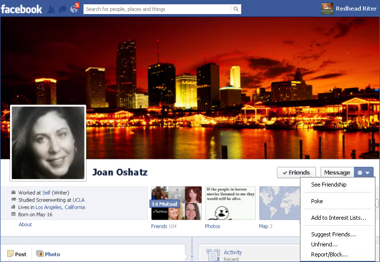 Facebook poke on friends page