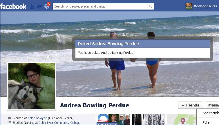 Facebook verification message of poke