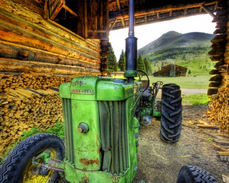 big green john deere tractor