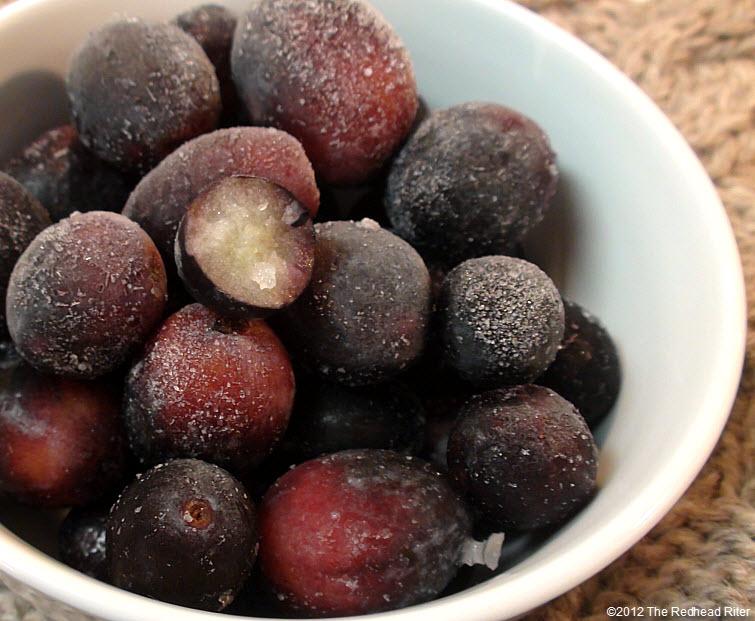 frozen seedless black grapes snack