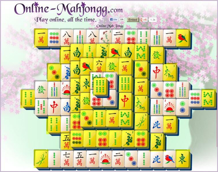 Online Mahjong Game available tiles